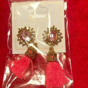 Pink , gold and diamond thread earrings.